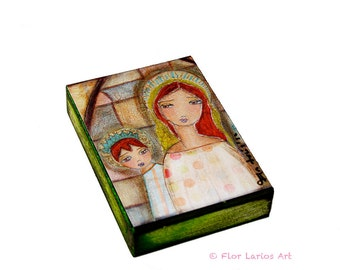 Madonna IV Red-Headed - Aceo Giclee print mounted on Wood (2.5 x 3.5 inches) Folk Art  by FLOR LARIOS