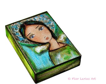 Angel of Hope - ACEO Giclee print mounted on Wood (2.5 x 3.5 inches) Folk Art  by FLOR LARIOS
