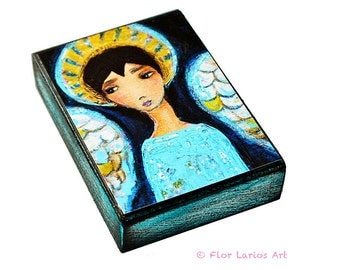 Angel Boy in Blue- ACEO Giclee print mounted on Wood (2.5 x 3.5 inches) Folk Art  by FLOR LARIOS