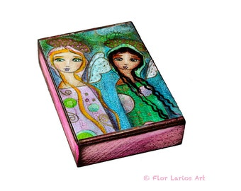 Sisters  - ACEO Giclee print mounted on Wood (2.5 x 3.5 inches) Folk Art  by FLOR LARIOS