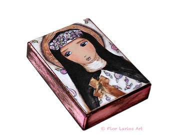 Saint Rose - ACEO Giclee print mounted on Wood (2.5 x 3.5 inches) Folk Art  by FLOR LARIOS