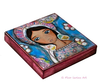 Watching Over You -  Giclee print mounted on Wood (4 x 4 inches) Folk Art  by FLOR LARIOS