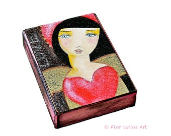 Valentine's Heart Angel  - ACEO Giclee print mounted on Wood (2.5 x 3.5 inches) Folk Art  by FLOR LARIOS