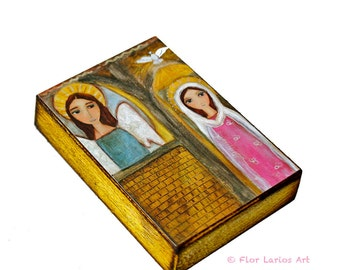 The Annunciation - Aceo Giclee print mounted on Wood (2.5 x 3.5 inches) Folk Art  by FLOR LARIOS