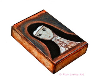Saint Clare- Aceo Giclee print mounted on Wood (2.5 x 3.5 inches) Folk Art  by FLOR LARIOS