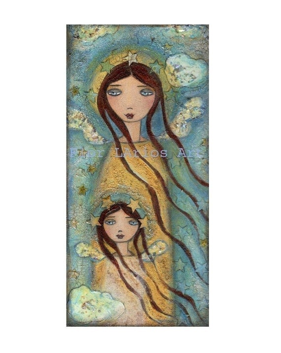 ANGEL-ANGELS-- Together in Heaven MOTHER DAUGHTER --  PRINT from  Painting by FLOR LARIOS (5 x 10 INCHES)