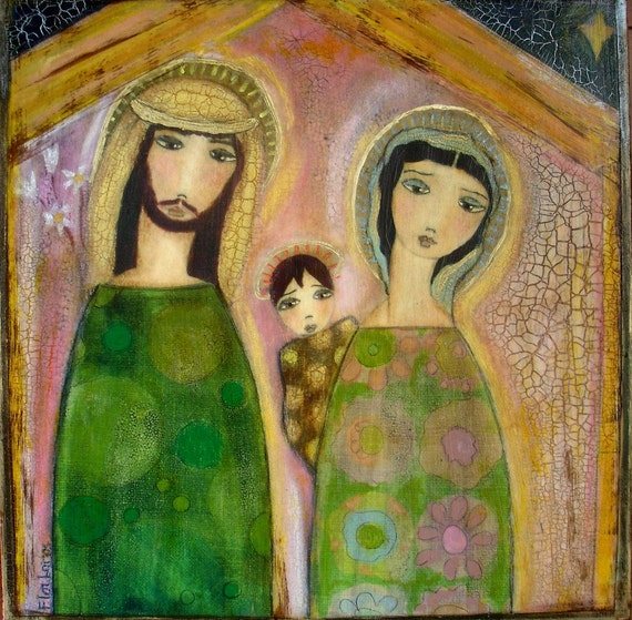 NATIVITY - NACIMIENTO - Giclee Reproduction Mounted on WALL WOODEN BOX Folk art by FLOR LARIOS (12 x 12 INCHES)