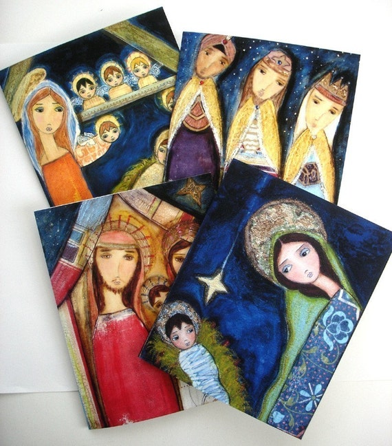 CHRISTMAS HOLIDAY CARDS SET - NATIVITY - ANGELS (Set of four with envelopes) Folk Art By FLOR LARIOS