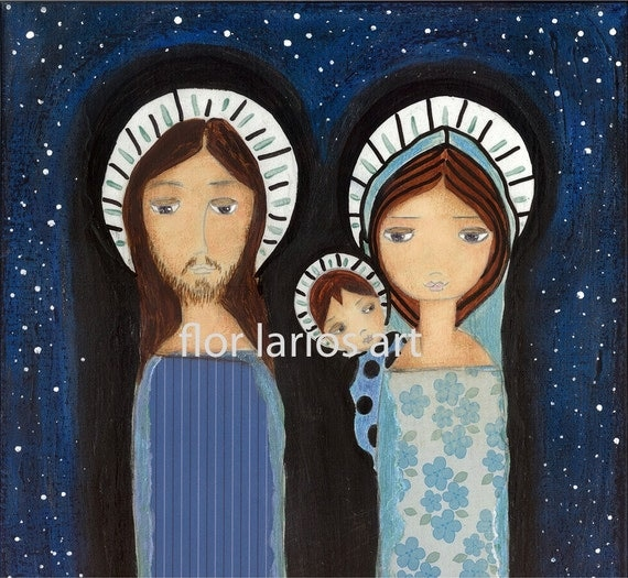 Starry Night - Folk Art  Nativity Print from Painting (7 x 7  inches Print) by FLOR LARIOS