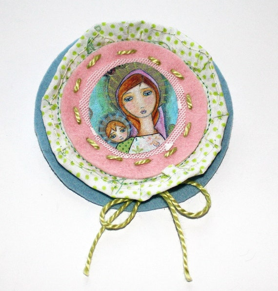 Clearance Sale - Original Fabric Brooch - Blonde Madonna with Child-  Art by FLOR LARIOS