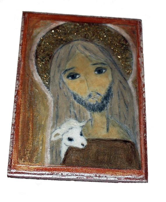 The Good Shepherd - Giclee print mounted on Wood- Made to Order -  Folk art RETABLO by FLOR LARIOS