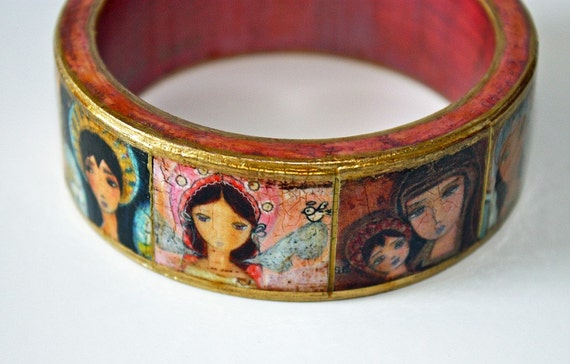 Madonnas and Angels -  Original Wooden Bangle - Small -  Folk Art by FLOR LARIOS