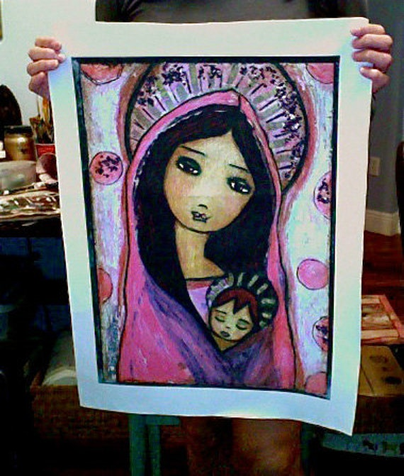 Sweet Dreams - Large Print on Fabric from Original Painting (16 x 20 inches) by FLOR LARIOS