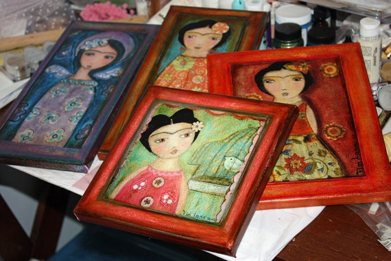 Your Choice Giclee Print Mounted on Canvas - any Image - Frida - Fairies   -  Nativities - Angels - Madonnas by FLOR LARIOS
