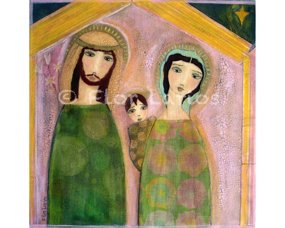 Nativity Nacimiento - Folk Art Primitive Collage Painting  (6 x 6 inches PRINT) by FLOR LARIOS