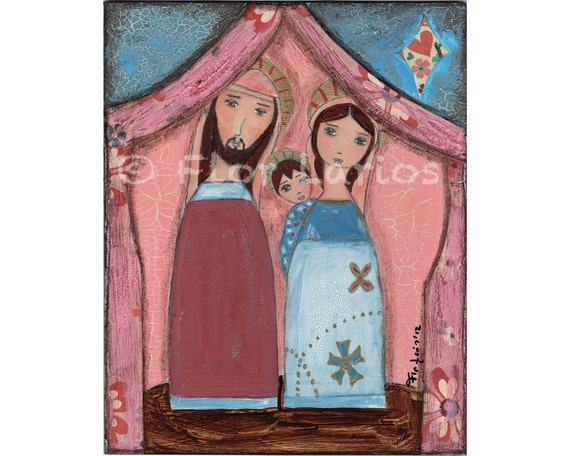 Loving Family - Mixed Media Original Painting  8 x 10 inches Canvas Panel - By FLOR LARIOS