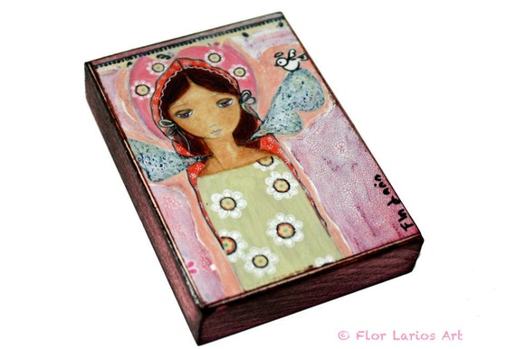 Angel with Little Bird - ACEO Giclee print mounted on Wood (2.5 x 3.5 inches) Folk Art  by FLOR LARIOS