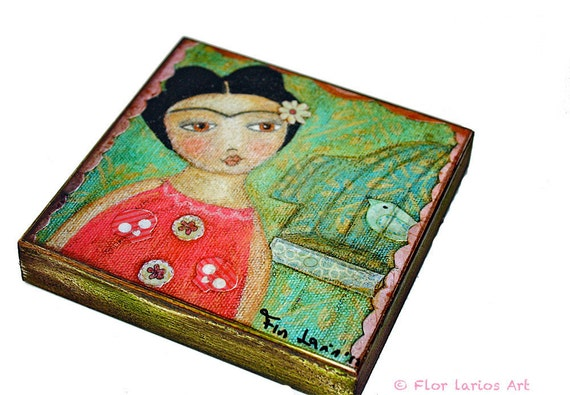 Frida y Pajarito -   Giclee print mounted on Wood (4 x 4 inches) Folk Art  by FLOR LARIOS