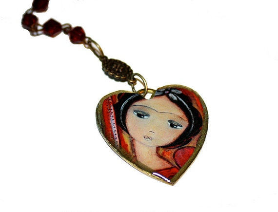 Always in Love - Large Filigree Cameo with Antiqued Brass Rosary Necklace by FLOR LARIOS