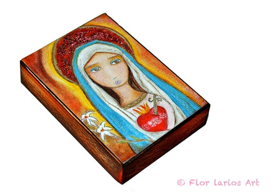 Immaculate Heart of Mary - ACEO Giclee print mounted on Wood (2.5 x 3.5 inches) Folk Art  by FLOR LARIOS