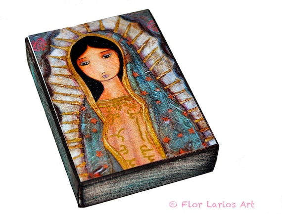 Virgen de Guadalupe - ACEO Giclee print mounted on Wood (2.5 x 3.5 inches) Folk Art  by FLOR LARIOS