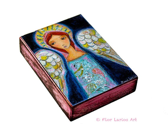 My Wings are for You Angel  - ACEO Giclee print mounted on Wood (2.5 x 3.5 inches) Folk Art  by FLOR LARIOS
