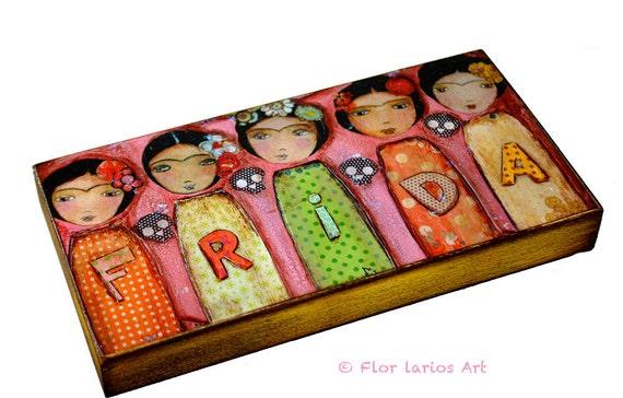 Frida Fiesta -  Giclee print mounted on Wood (3 x 6inches) Folk Art  by FLOR LARIOS