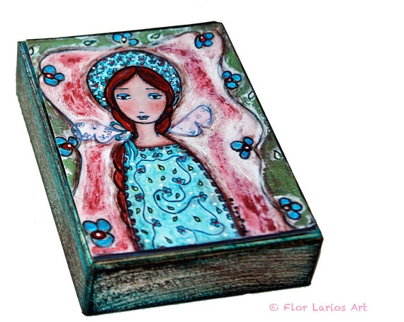 Garden Fairy - ACEO Giclee print mounted on Wood (2.5 x 3.5 inches) Folk Art  by FLOR LARIOS