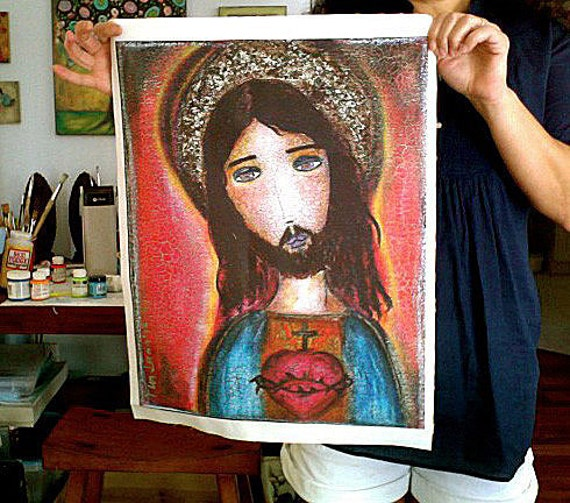 Sacred Heart of Jesus - Large Print on Fabric from Original Painting (16 x 20 inches) by FLOR LARIOS