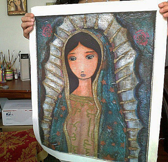 Virgen de Guadalupe - Large Print on Fabric from Original Painting (16 x 20 inches) by FLOR LARIOS