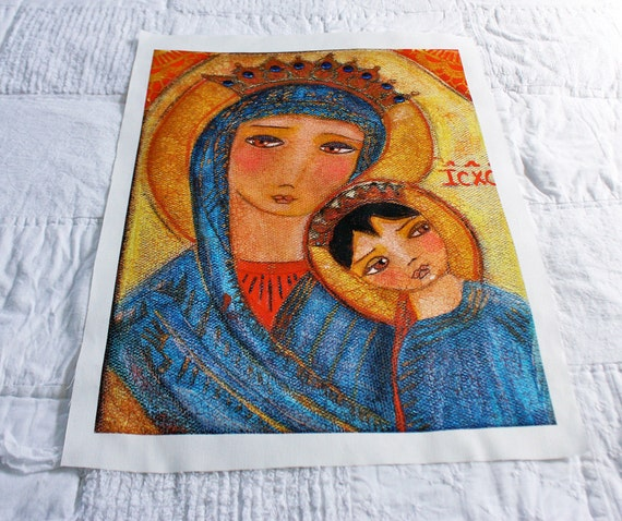 Our Lady of Perpetual Help - Large Print on Fabric from Original Painting (16 x 20 inches) by FLOR LARIOS
