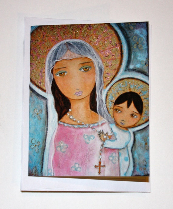 Mary with Rosary - Greeting Card 5 x 7 inches - Folk Art By FLOR LARIOS