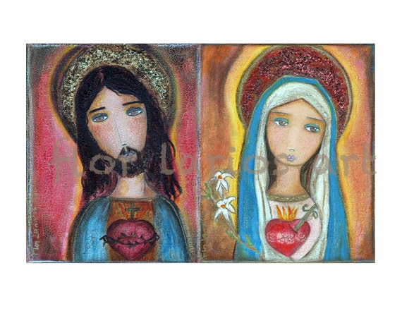 Sacred Heart Jesus and Mary -  Print from Painting (6 x 9.5  inches Print) by FLOR LARIOS