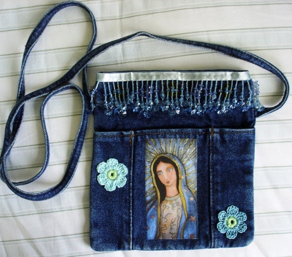 OUR LADY OF GUADALUPE Denim Tote Bag with Crochet Flowers and Beads Hand-made Folk Art by  FLOR LARIOS