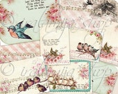 SONGBIRD CARDS Collage Digital Images -printable download  file-