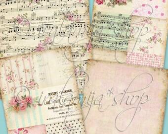 BELLA ROSE BACKGROUNdS Collage Digital Images -printable download file-
