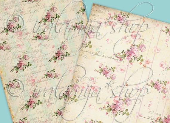 BIG ROSES BACKGROUNdS Collage Digital Images -printable download file-