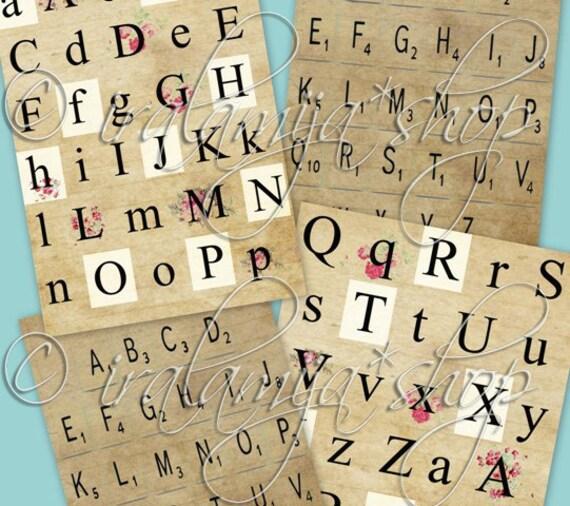 LETTERS alphabet Collage Digital Images -printable download file Digital Collage Sheet Vintage Paper Scrapbook