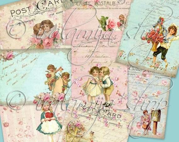 LOVE LETTERS Collage Digital Images -printable download file-