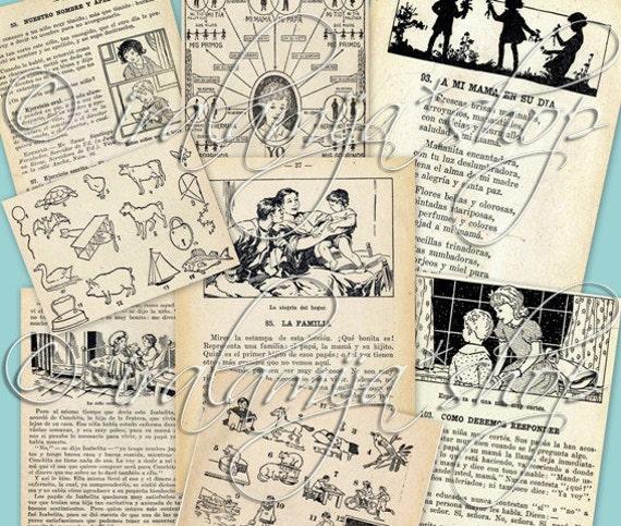 OLD BOOK Collage Digital Images -printable download file-