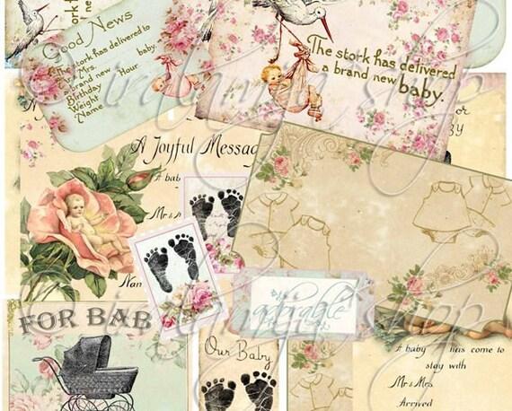 DARLING BABY collage Digital Images -printable download file-