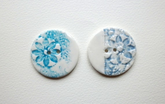 Flower Power, A set of two large handmade ceramic sew on buttons