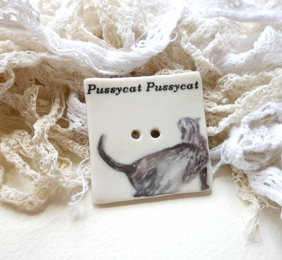 A Large Handmade Cat Design Porcelain Sew on Button