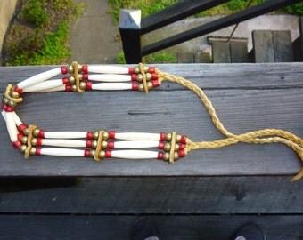 Native American Bone Hair Pipe Choker