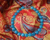 Aqua Chiclet Necklace  - SALE