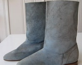 ON HOLD FOR ANAIAI Vintage Blue Suede Booties 6 or 6.5 SALE SALE SALE