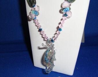 18.5 Inch Boro Glass Seahorse Fantasy Necklace