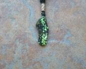 chinese silk cord necklace with nebula stone pendant