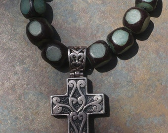 Celtic Cross black/teal and silver beads knotted necklace with silver cross pendant Boho HippieChic Peace Love Karma Zen