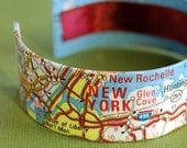 Traveler Map Bracelet New York City and Long Island Area Cuff - Eco Friendly - Gift under 30